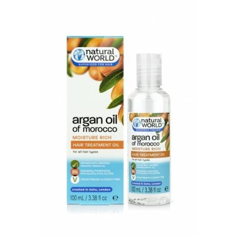 Natural World Argan Oil of Morocco Moisture Rich juukseõli 100ml