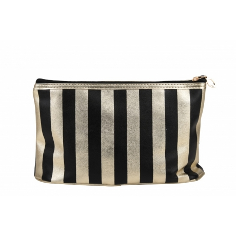 BYS Cosmetic Bag Vertical Stripe Black Gold