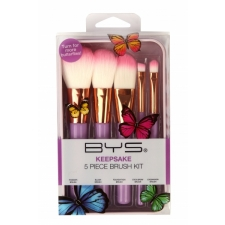 BYS Makeup Brushes In Keepsake Butterfly Tin Lilac 5Pc