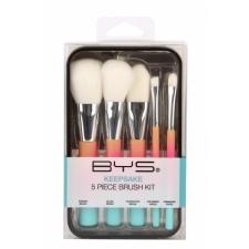 BYS Makeup Brushes In Keepsake Tin Pastel Rainbow 5Pc