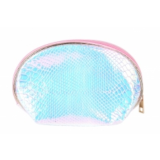 BYS Cosmetic Bag Shell Shape Snakeskin Ab Pink
