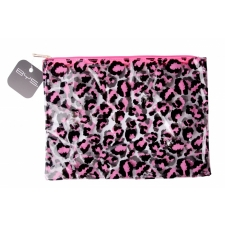 BYS GONE WILD Cosmetic Bag Leopard Print Clear Neon Pink/Black