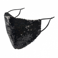 BYS Näomask 2 Layer Fashion Black Sequins