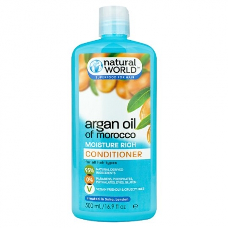 Natural World Argan Oil of Morocco Moisture Rich Бальзам для волос 500мл
