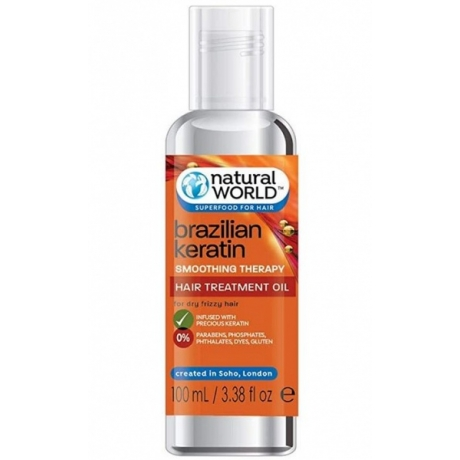 Natural World Brazilian Keratin Smoothin Therapy Масло для разглаживания волос 100мл