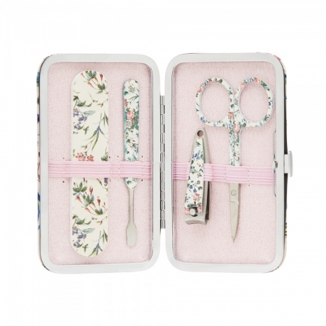 The Vintage Cosmetic Company Manikyyrisetti  Pink Floral Satin