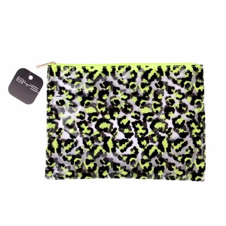 BYS GONE WILD Meikkilaukku Leopard Print Clear Neon Lime/Black