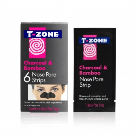 TZone Полоски для очищения пор на носу Charcoal and Bamboo 6шт