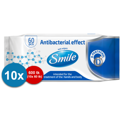Smile antibacterial wet wipes 60pc combo 10pc
