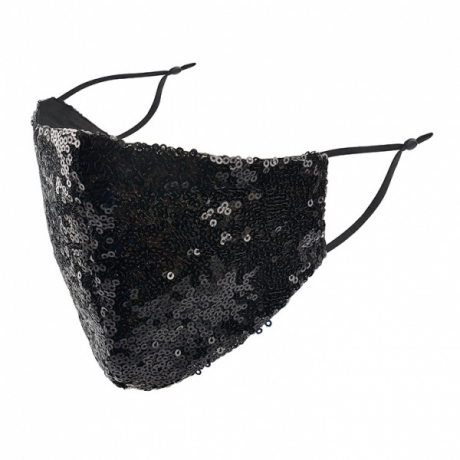 BYS Face Mask 2 Layer Fashion Black Sequins