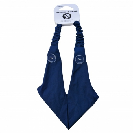 BYS Headband Ear Saver With Buttons Blue