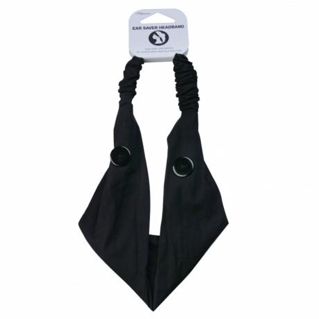 BYS Повязка на голову с пуговицами для маски Ear Saver With Buttons Black