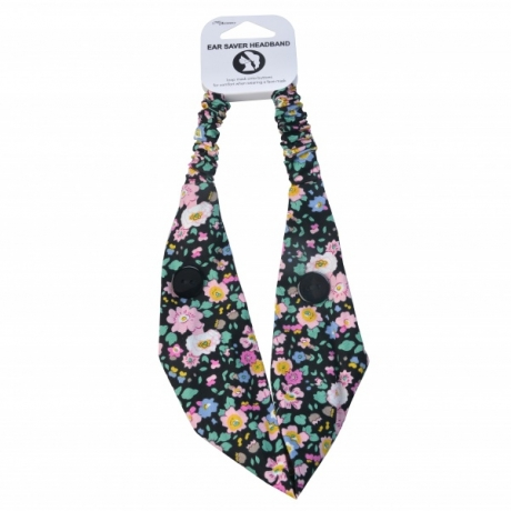 BYS Headband Ear Saver With Buttons Flowers