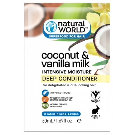 Natural World Coconut and Vanilla Milk Intensive Moisture Deep Conditioner 50ml