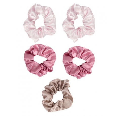 The Vintage Cosmetic Company Hair Scrunchies Satin Pink 5pcs