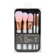 BYS Makeup Brushes in Keepsake White with Rose Gold 5 pc