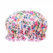 The Vintage Cosmetic Company Shower Cap Pink Floral Satin