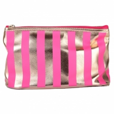 BYS Cosmetic Bag Vertical Stripe Rose Gold
