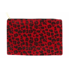 BYS Cosmetic Bag Leopard Red/Black Zip Pull