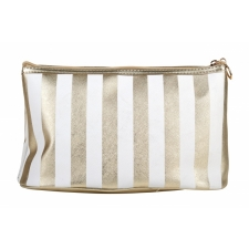 BYS Cosmetic Bag Vertical Stripe White Gold