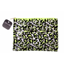 BYS GONE WILD Cosmetic Bag Leopard Print Clear Neon Lime/Black