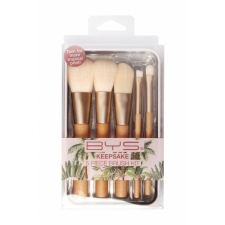 BYS Makeup Brushes In Keepsake Tin Natural Vintage Palm 5 pc